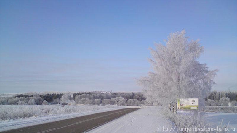 Дорога в родовое поместье И.С. Тургенева д. Тургненево. Новый год 2008-09 год.