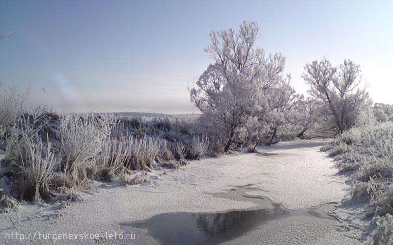 Бежин луг, река Снежедь, вид с мостка (Чернский район, Тульской области)