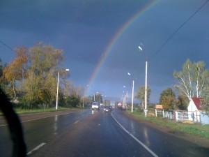 Полная радуга по дороге из Бежина Луга в Москву, Тульская область